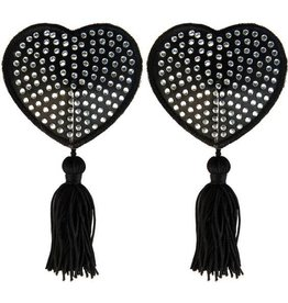 XGN Black Satin Heart With White Stone And Tassel