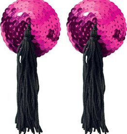 XGN Hot Pink Sequin Pasties With Black Tassel
