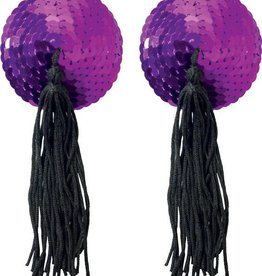XGN Purple Sequin Pasties With Black Tassel