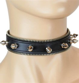 FPL Leather Zipper-Edge Small Spike Choker