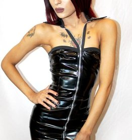 MOD Zip Front PVC Dress With Collar