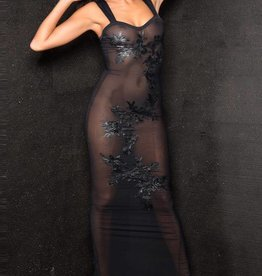 MOD Long Sheer Dress With Floral Detail