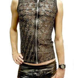 MOD Mens Zip Front Tank With Ribbon Mesh Design