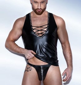 NH Mens Wetlook Thong With Grommets