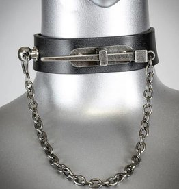 FPL Nail And Chain Leather Choker Collar