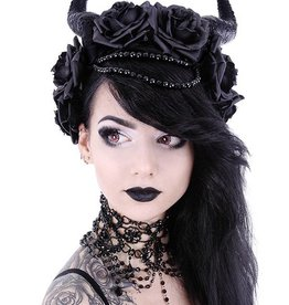 RES Evil Queen Gothic Headpiece With Roses And Beads