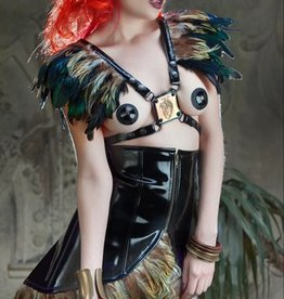 CLR Anima PVC Skirt With Feather Trim