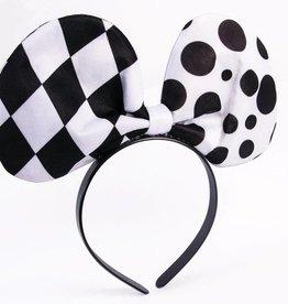 CLR Harlequin Clown Tie Bow Headband