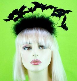 BP Bat Headband With Feather Trim