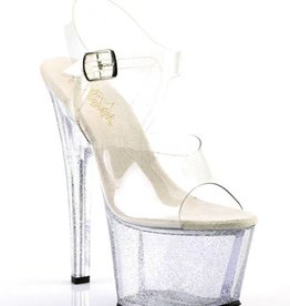 PLS Clear Sandal With Clear Glitter Heel
