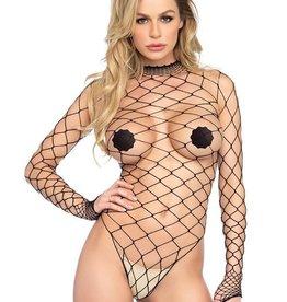 LGA High Neck Fence Net Bodysuit With Snap Crotch