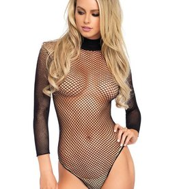 LGA Fishnet Long Sleeve Bodysuit With Snap Crotch