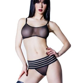 COQ Mesh Thong With Striped Elastic Band