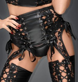 NH Lace & Wetlook Garter Belt With Ribbon Detail