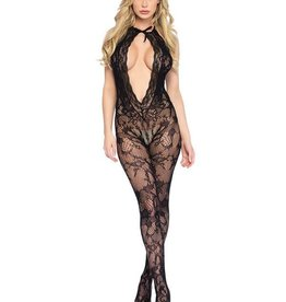 LGA Lace Keyhole Body Stocking Cheeky Open Bottom