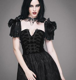 WF Laced Cape With Puff Sleeves And Choker