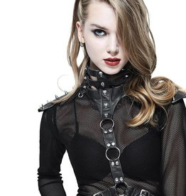 WF Faux Leather Chest Harness With Spikes And Rings