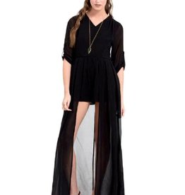 CLR Chiffon Romper Attached Long Skirt