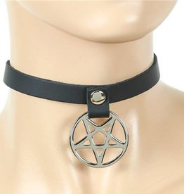 FPL Silver Pentagram Leather Choker