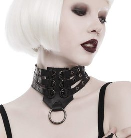 WF Faux Leather 3 Strap Choker with Spikes  Black  Adjustable