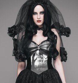 WF Gothic Floral Veil  Black  O/S