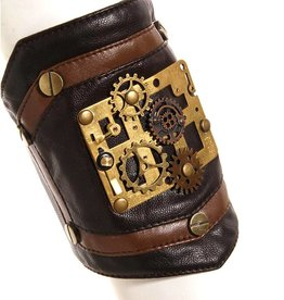 WF Steampunk Faux Leather Armband with Gears Adjustable Velcro Close