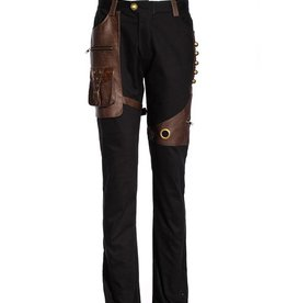 WF Mens Steampunk  Pants with Faux Leather Detailing
