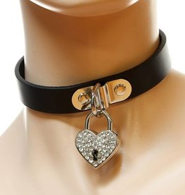 FPL Choker With Rhinestone Heart Lock on D-Ring