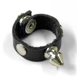 BAB Spike Leather Ring With Snap