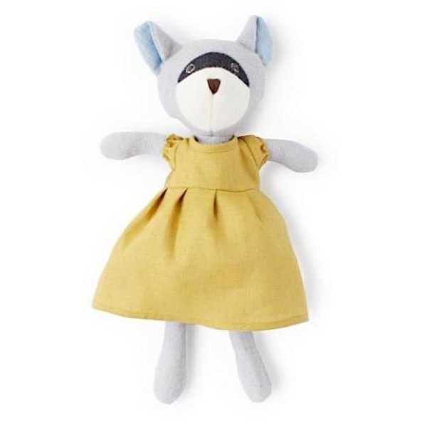 Hazel Village Gwendolyn Raccoon - Goldenrod Linen Dress