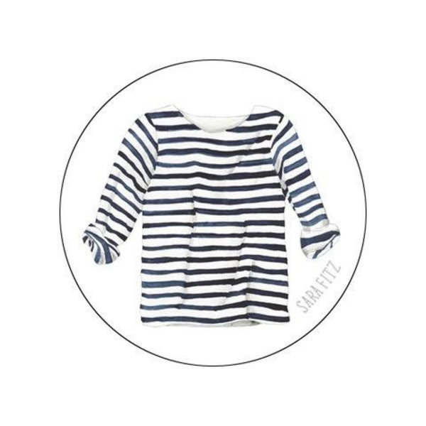 Chart Metalworks Necklace - Sara Fitz Striped Shirt  - XS - Pewter