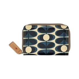 Orla Kiely Matt Laminated Canvas Flower Stem Print Medium Zip Wallet - Indigo