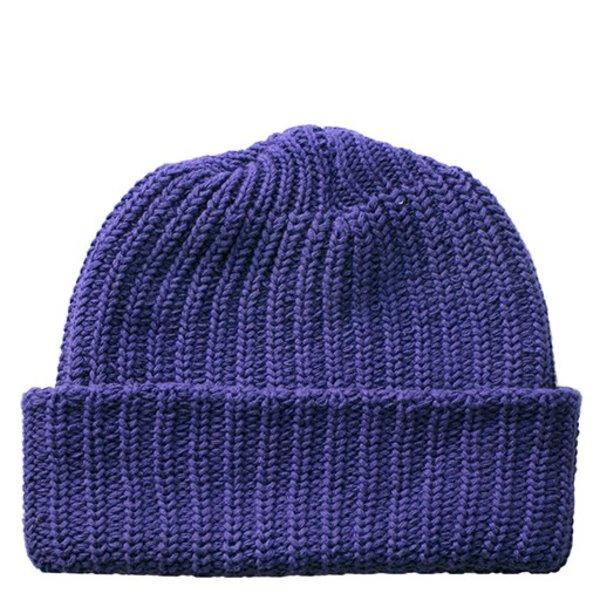 Solid Cotton Knit Hat - Purple