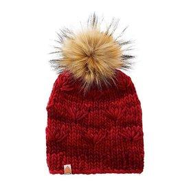 Shit That I Knit Shit That I Knit Motley Beanie - Cardinal - Faux Fur Pom