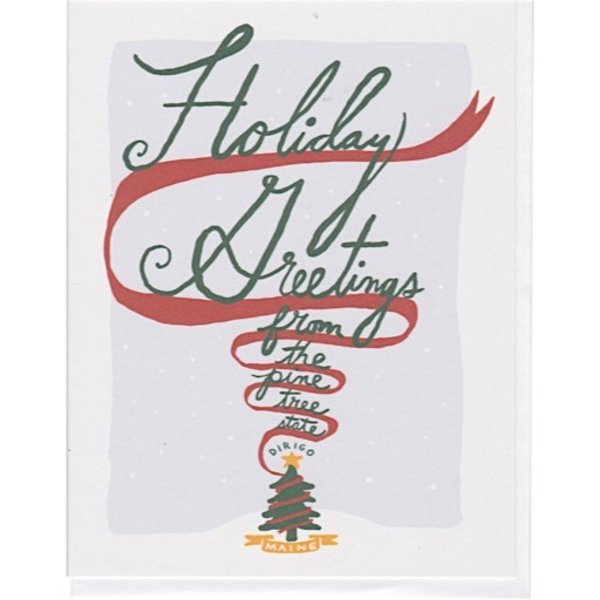Daytrip Society Holiday Greetings Pine Tree State Dirigo Card - Set of 10