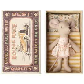 Maileg Mouse - Little Sister In Box - Pink Polka Dot