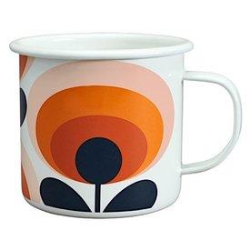 Orla Kiely Enamal Mug - 70s Flower Oval - Persimmon