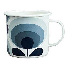 Orla Kiely Enamal Mug - 70s Flower Oval - Slate