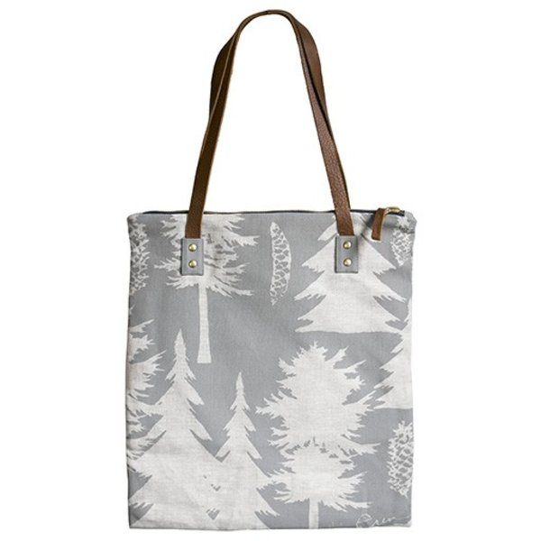 Erin Flett Linen Mod Tote - Ashley Pine Grey on Natural Linen - Navy Zip and Strap Connector