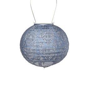 Soji Stella – Globe – 8″ Tyvek Solar Lantern - Sky Blue Metallic
