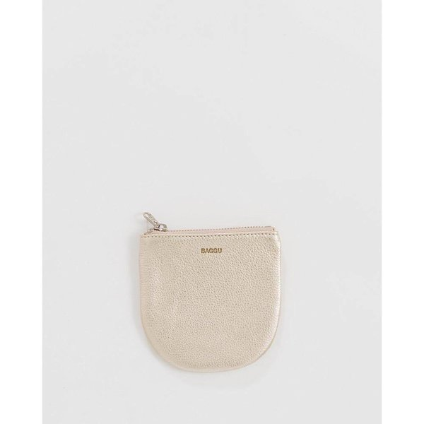 Baggu Small Leather Pouch - Platinum