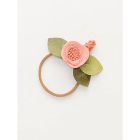 Fancy Free Finery Fancy Free Finery Blush Flower Headband - Blush Center and Green Leaves