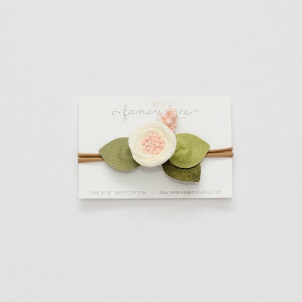 Fancy Free Finery Fancy Free Finery Ivory Flower Headband - Ballet Pink Center and Green Leaves