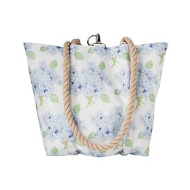 Sea Bags Sara Fitz Hydrangea Pattern Handbag Tote - Hemp Handle - Small with Clasp