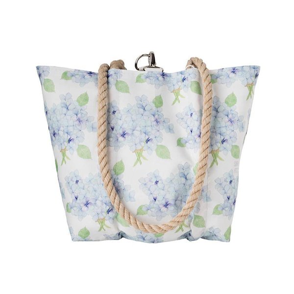 Sea Bags Sara Fitz Hydrangea Pattern Handbag Tote - Hemp Handle - Small with Clasp