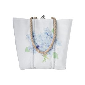 Sea Bags Sara Fitz Hydrangea Single Bloom Tote - Hemp Handle - Medium with Clasp