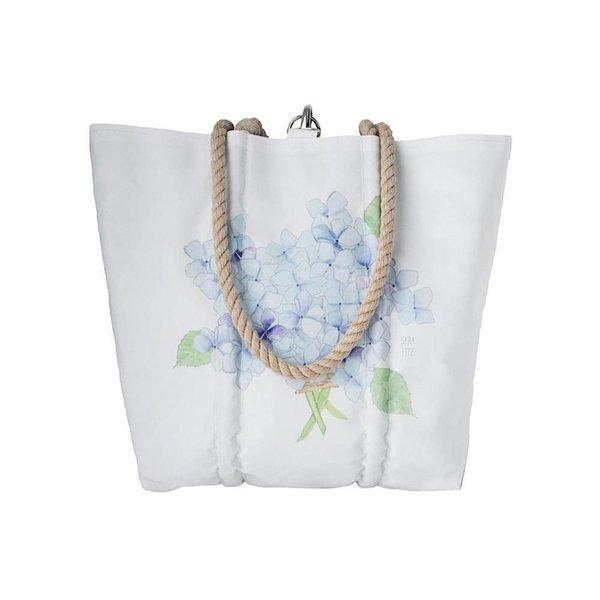 Sea Bags Sara Fitz Hydrangea Single Bloom Tote - Hemp Handle - Medium with Clasp