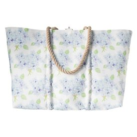 Sea Bags Sara Fitz Hydrangea Pattern Tote - Hemp Handle - Large with Clasp