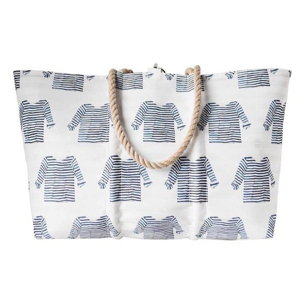 Sea Bags Sara Fitz Striped Shirt Pattern Tote - Hemp Handle - Large with Clasp