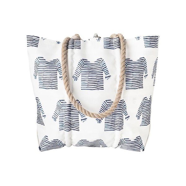 Sea Bags Sara Fitz Striped Shirt Pattern Tote - Hemp Handle - Medium with Clasp